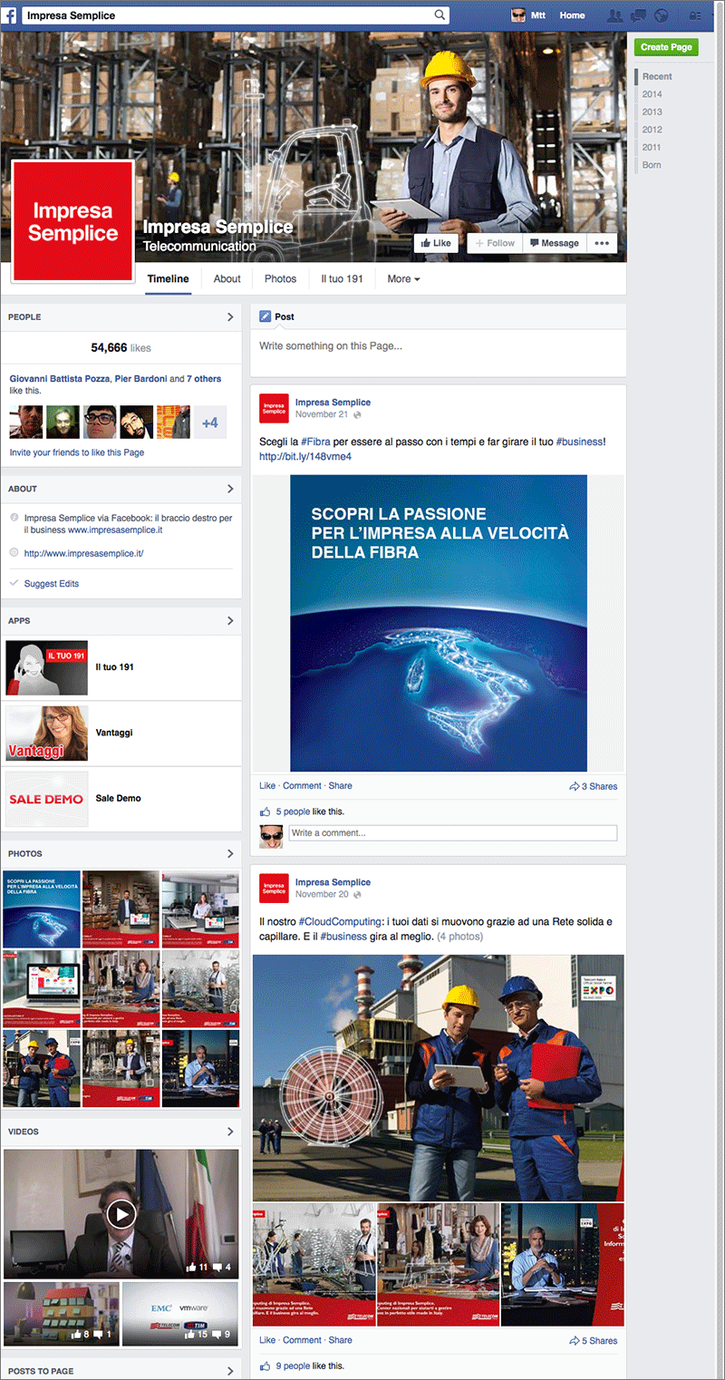 Pagina Facebook di Impresa Semplice