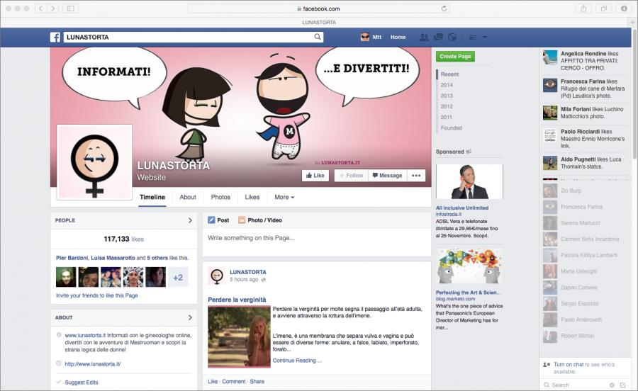 screenshot pagina facebook lunastorta