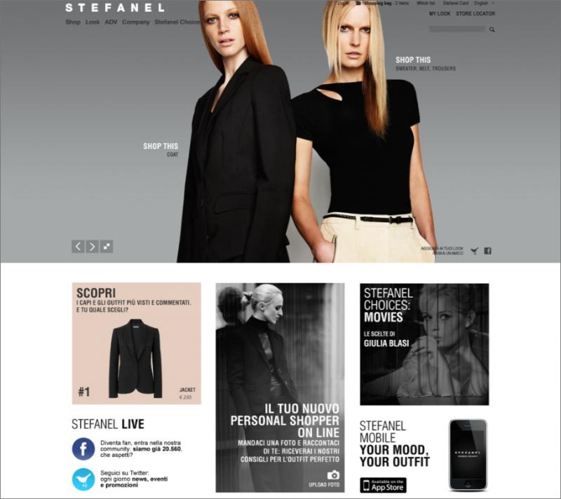 Screenshot sito Stefanel